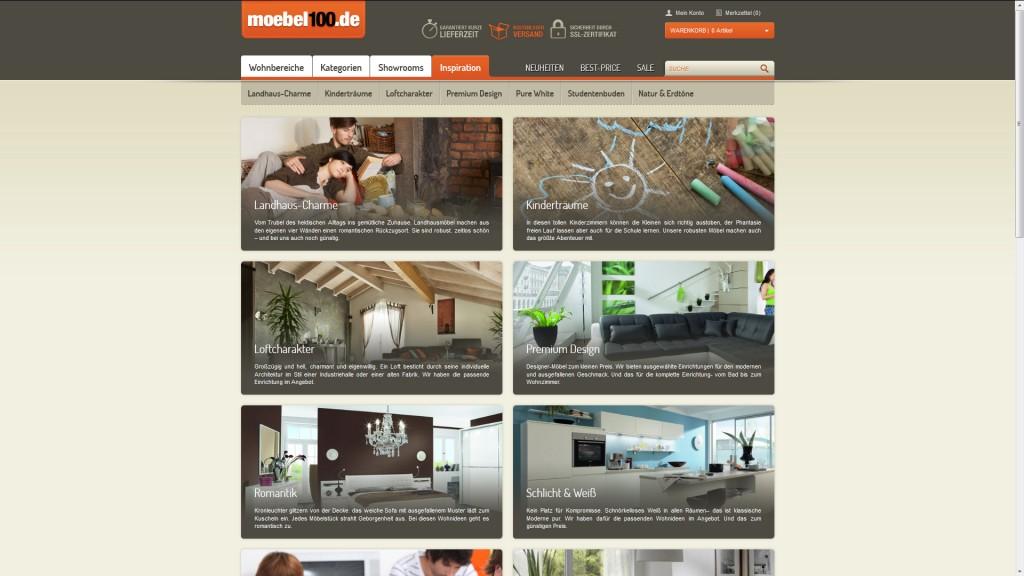 Zu jedem Stil die richtigen Möbel: Der Webshop moebel100.de gibt den Kunden Inspirationen.