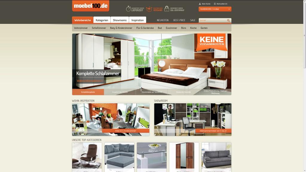 Übersichtlich und ansprechend: die Startseite von moebel100.de.