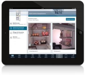 So sieht die Kühlschrank-App auf dem iPad aus. Foto: Siemens